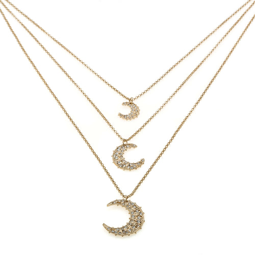 Necklace With 3 Moon Pendants in Bronze With Swarovski Crystals - italianluxurygroup.com.au