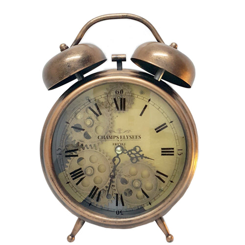 Newton alarm moving cogs bedside clock - copper - italianluxurygroup.com.au