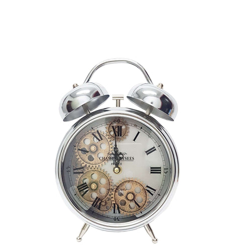 Italian Luxury Group Clock Newton alarm moving cogs bedside clock - silver Brand