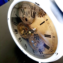 Load image into Gallery viewer, Newton alarm moving cogs bedside clock - white - italianluxurygroup.com.au