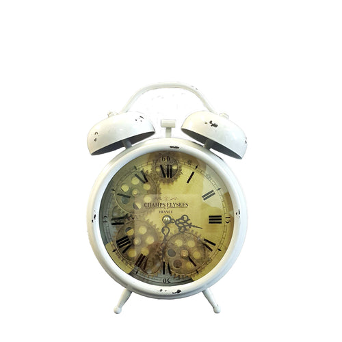 italianluxurygroup.com.au Clock Newton alarm moving cogs bedside clock - white Brand