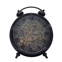 Load image into Gallery viewer, Newton alarm moving cogs standing clock - black - italianluxurygroup.com.au
