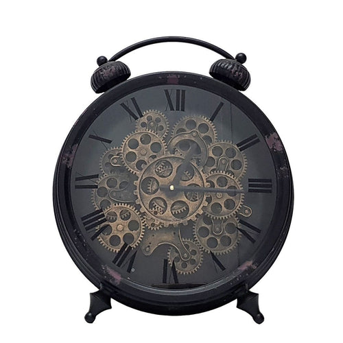Newton alarm moving cogs standing clock - black - italianluxurygroup.com.au