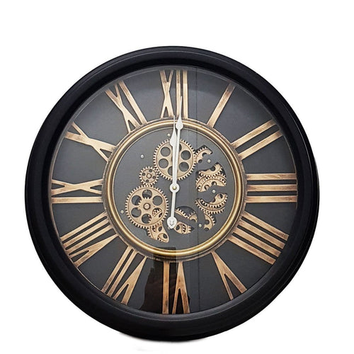 Italian Luxury Group Clock Round 52cm William moving cogs wall clock - Black Brand