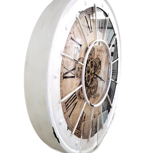 Round 60cm Bassett Industrial moving cogs wall clock - white - italianluxurygroup.com.au