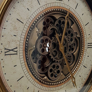 Round 60cm Compass moving cogs wall clock - Gold - italianluxurygroup.com.au