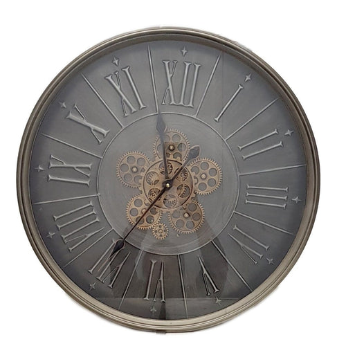 italianluxurygroup.com.au Clock Round 60cm George Modern moving cogs wall clock - Grey Brand