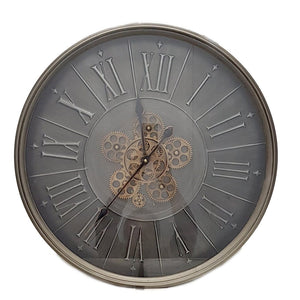 Round 60cm George Modern moving cogs wall clock - Grey - italianluxurygroup.com.au