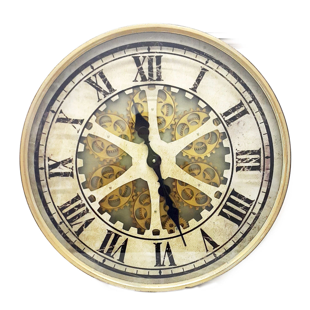 Round 60cm Ragnar moving cogs wall clock - Gold - italianluxurygroup.com.au
