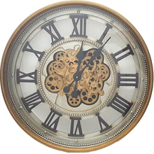 Load image into Gallery viewer, Round 60cm Roman classic round moving cogs clock - Gold - italianluxurygroup.com.au