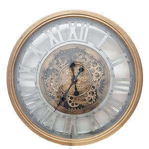 Round 72cm Venitian Classic moving cogs wall clock - Gold w/ silver - italianluxurygroup.com.au