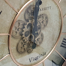 Load image into Gallery viewer, Round 80cm Basset moving cogs wall clock - Copper - italianluxurygroup.com.au
