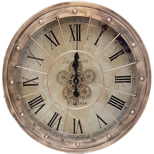 italianluxurygroup.com.au Clock Round 80cm Basset moving cogs wall clock - Copper Brand