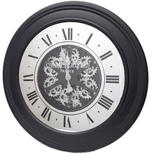 Load image into Gallery viewer, Round 80cm French mirrored moving cogs wall clock - Black w/silver - italianluxurygroup.com.au