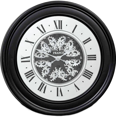 italianluxurygroup.com.au Clock Round 80cm French mirrored moving cogs wall clock - Black w/silver Brand