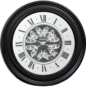 Round 80cm French mirrored moving cogs wall clock - Black w/silver - italianluxurygroup.com.au