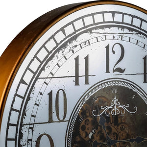 Round 80cm mirrored Château moving cogs wall clock - Gold - italianluxurygroup.com.au
