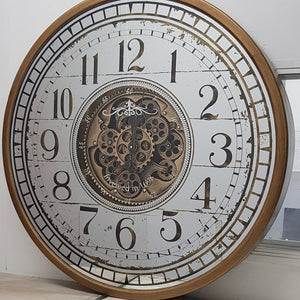italianluxurygroup.com.au Clock Round 80cm mirrored Château moving cogs wall clock - Gold Brand