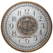 Load image into Gallery viewer, italianluxurygroup.com.au Clock Round 80cm mirrored Château moving cogs wall clock - Gold Brand