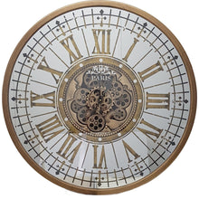 Load image into Gallery viewer, Round 80cm mirrored Paris moving cogs wall clock - Gold - italianluxurygroup.com.au