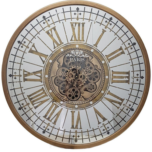 italianluxurygroup.com.au Clock Round 80cm mirrored Paris moving cogs wall clock - Gold Brand