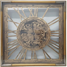 Load image into Gallery viewer, Square 80cm Roma moving cogs clock - Gold w/ silver - italianluxurygroup.com.au