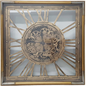 Square 80cm Roma moving cogs clock - Gold w/ silver - italianluxurygroup.com.au