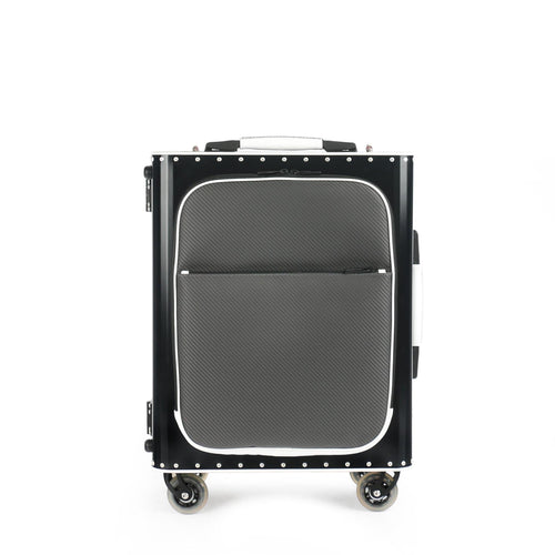 Tecknomonster Kronos L Flap Cabin Trolley Black and White Titanium - italianluxurygroup.com.au