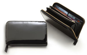 Zip Around Wallet Women's Black Varnished Italian Leather - italianluxurygroup.com.au