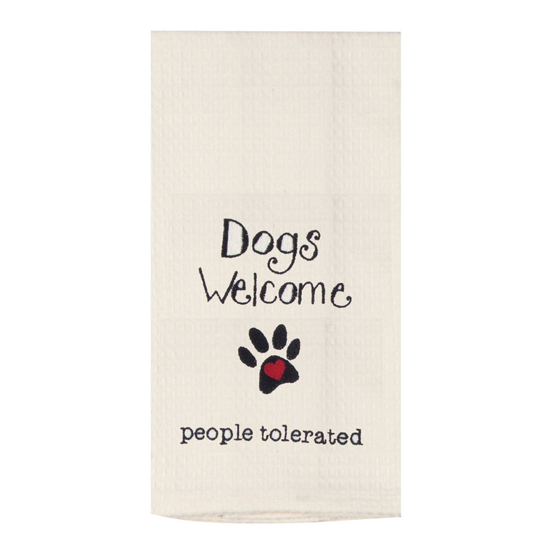 Dog - Dogs Welcome - People Tolerated Tea Towel