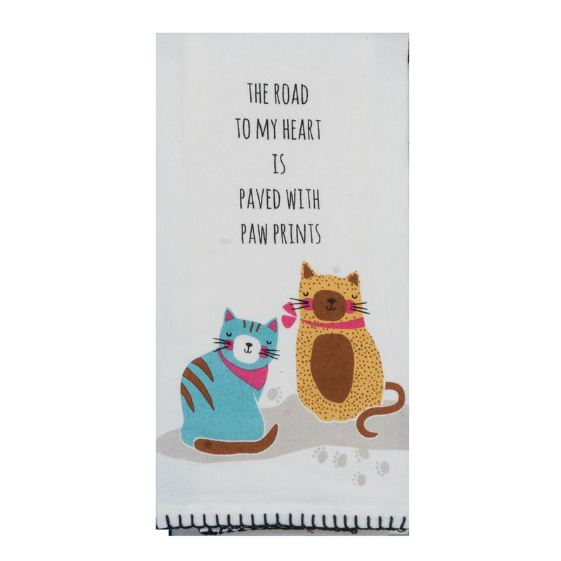 Cat - The Road to My Heart Tea Towel