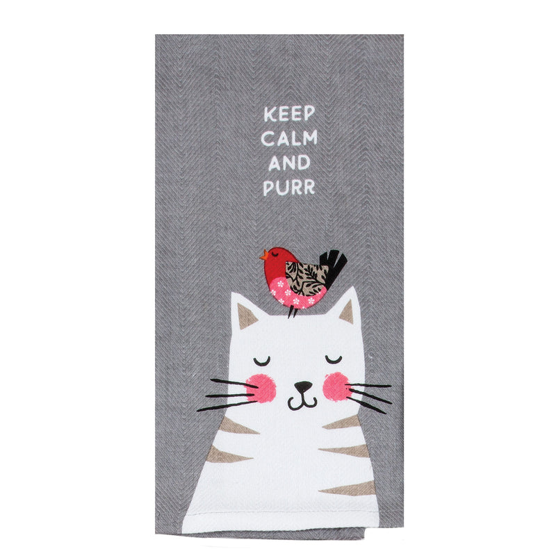 Cat - Keep Calm and Purr Tea Towel
