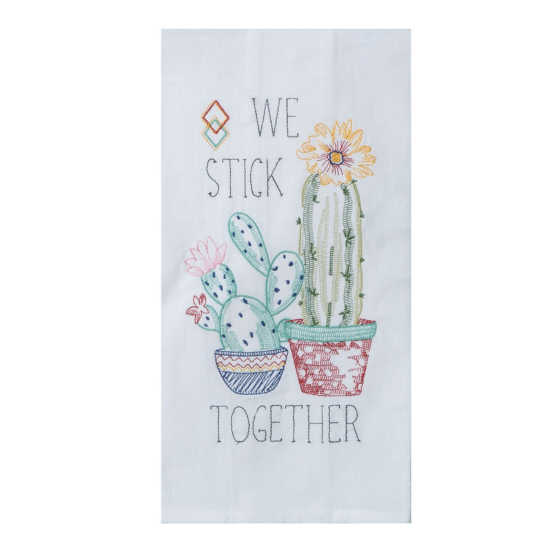 SW - We Stick Together Embroidered Tea Towel