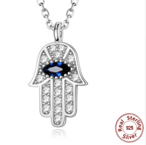 Evil Eye Hand of Fatima Silver Necklace