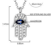 Load image into Gallery viewer, Evil Eye Hand of Fatima Silver Necklace