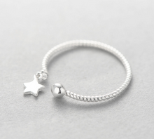 Load image into Gallery viewer, Adjustable silver Dangling Star ring