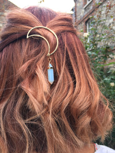 Metal Moon Crescent Hair Clip with opal gemstone