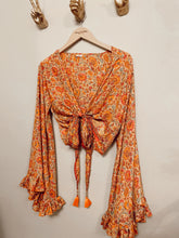Load image into Gallery viewer, Silk frill sleeve top orange