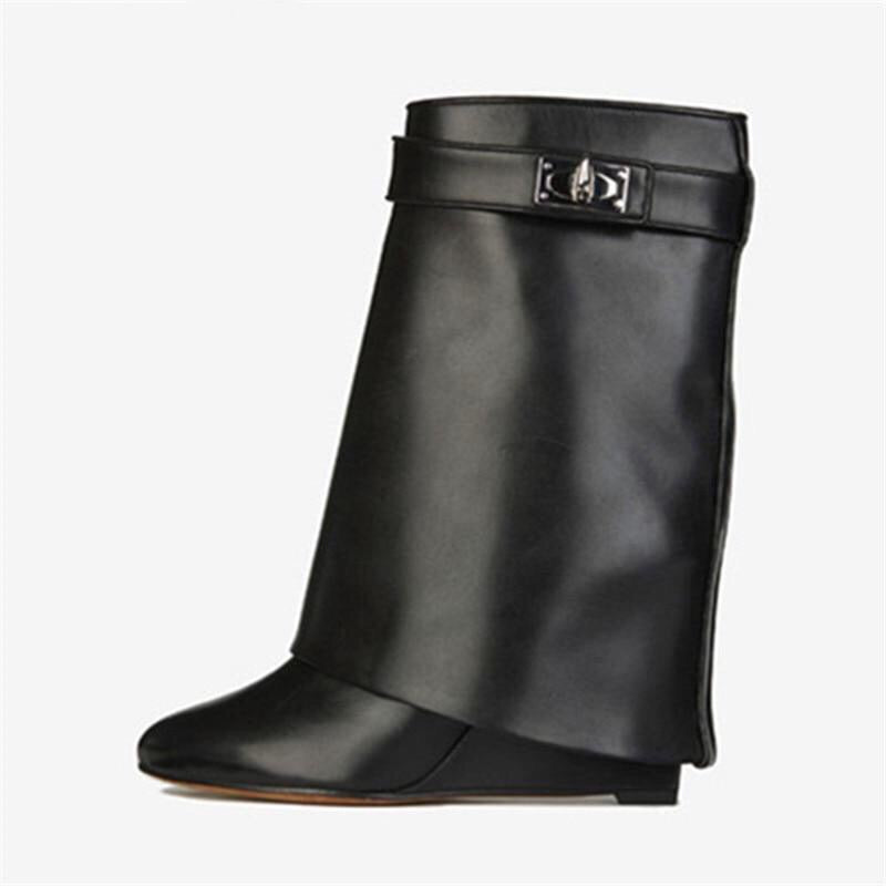 ROSE LEATHER WEDGE BOOTS