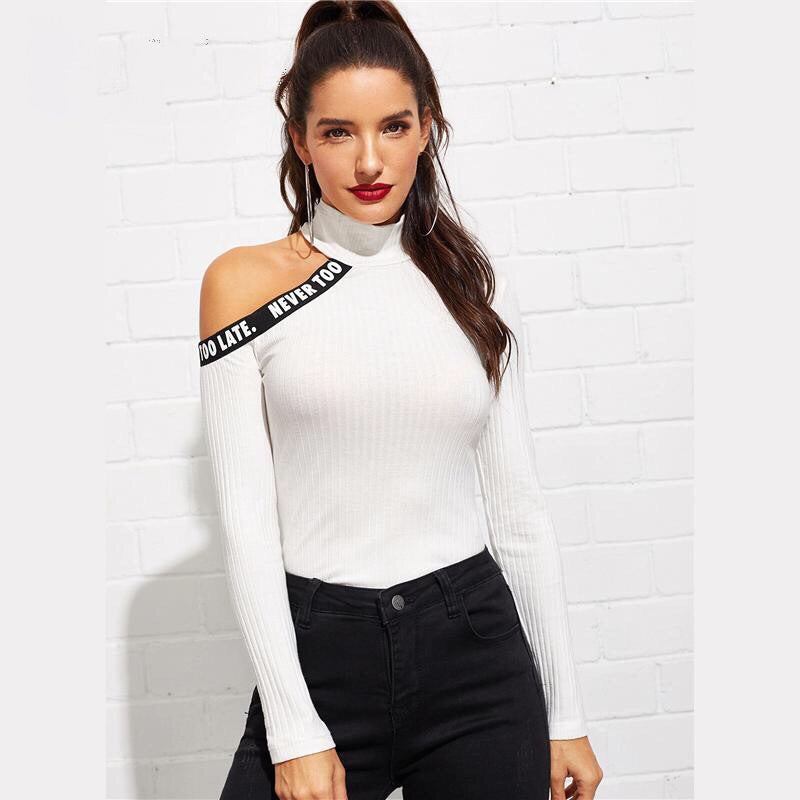 ICE CUT OUT SHOULDER LETTER TAPE TOP
