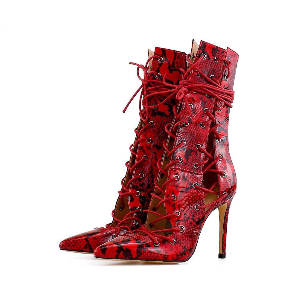 CINDY RED CUT LEATHER BOOTS