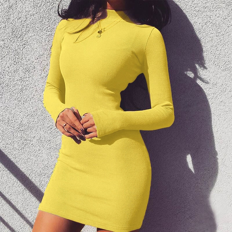 SOFIA NECK RIBBED DRESS