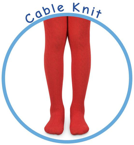 Jefferies Socks Red Cable Tights