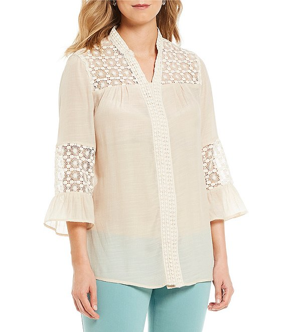 Multiples Clothing V-Neck Button Up Beige Blouse with Lace
