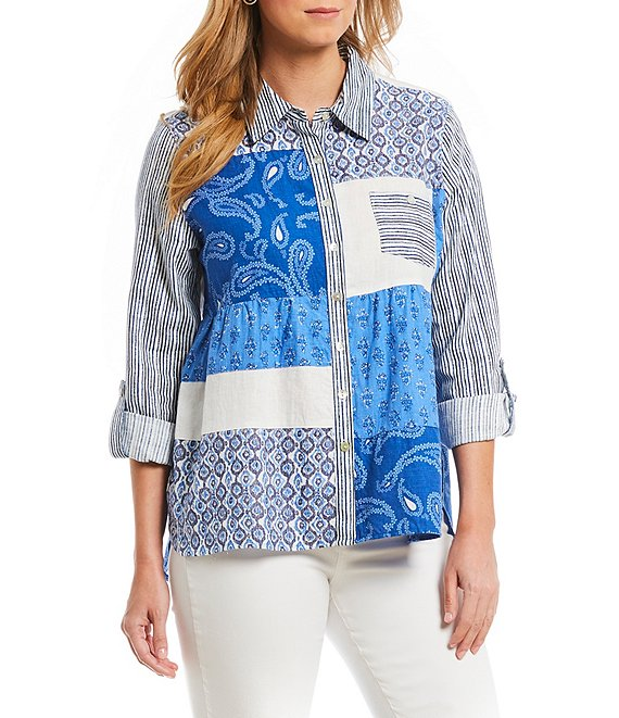 Multiples Clothing -  Patchwork Button Up Blouse