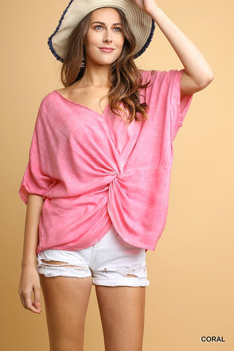 Short Sleeve Cinched Front Top