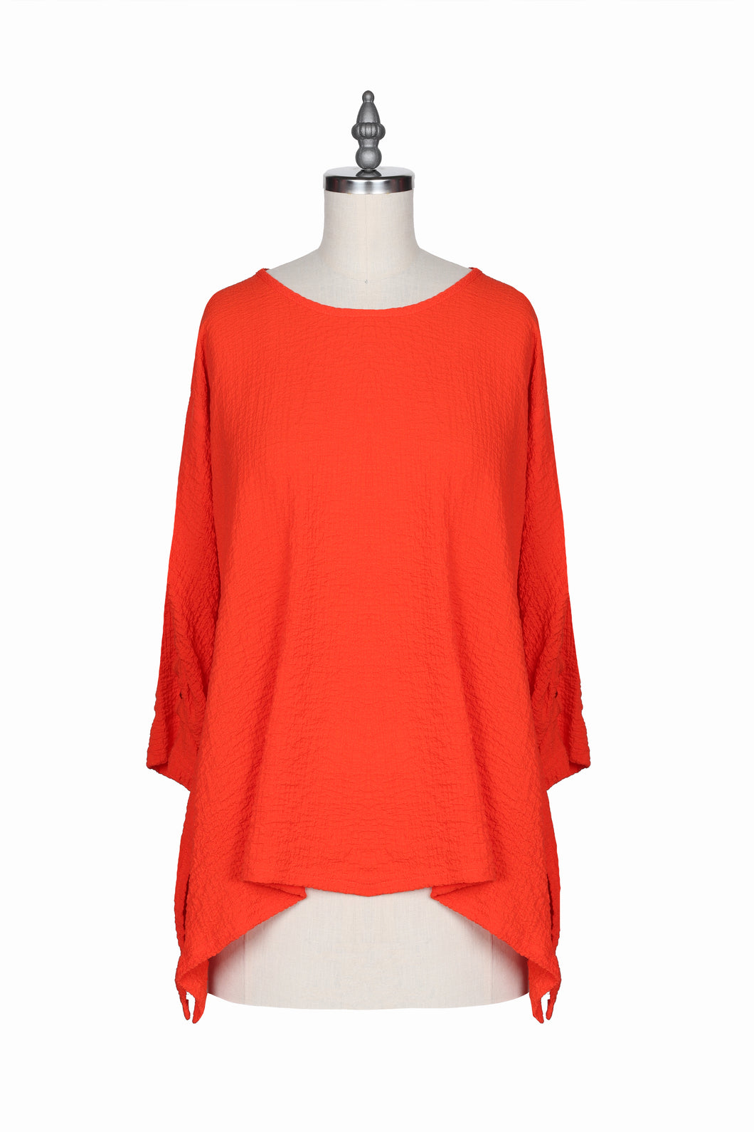 Yushi Orange Tunic with Black Buttons on the Sleeve