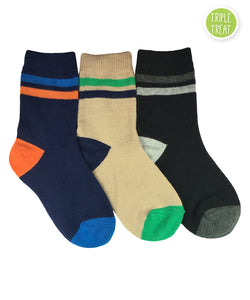 Jefferies Socks Multi Boy Stripe Crew Navy/Khaki/Black Triple Treat