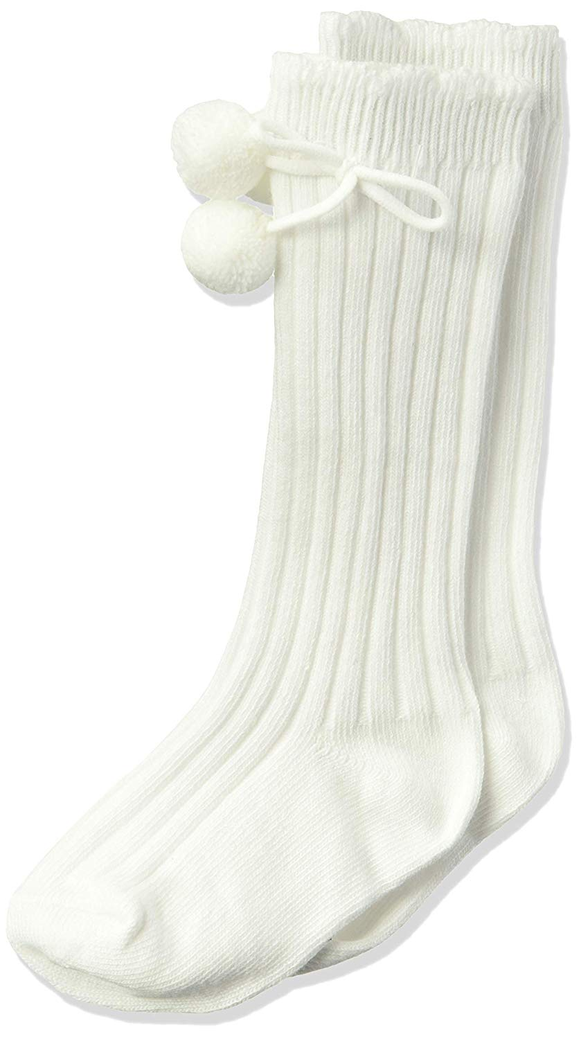 Jefferies Socks White Rib Pom Pom Knee High
