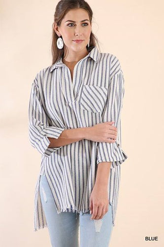 Quarter Sleeve V-Neck Striped Top